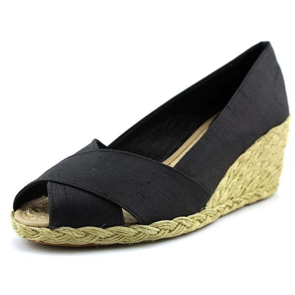 Lauren Ralph Lauren Cecilia Women Open Toe Canvas Black Wedge Heel