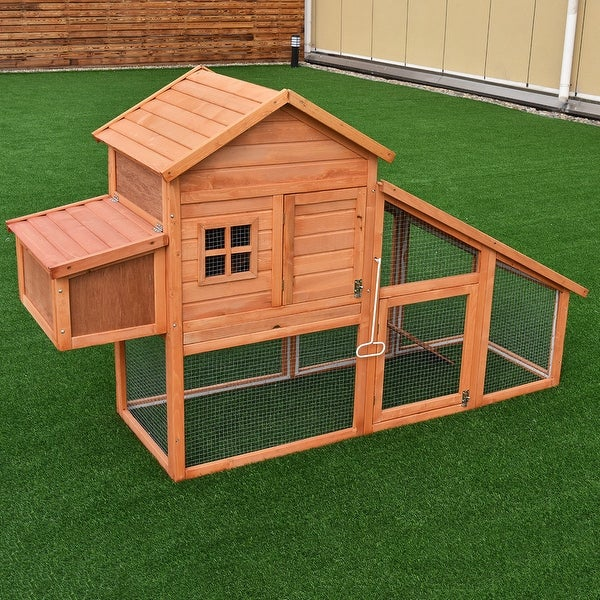 Shop Costway 75 Large Deluxe Wooden Chicken Coop Backyard Nest Box