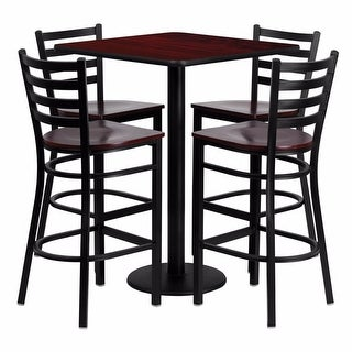 Offex 30'' Square Mahogany Laminate Table Set with Ladder Back Metal Bar Stool and Mahogany Wood Seat