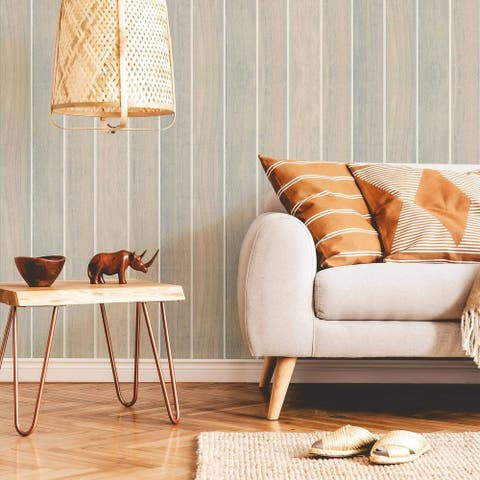 Beige Faux Shiplap Peel and Stick Removable Wallpaper 2146