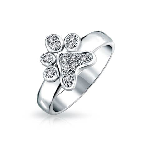 Pave Animal Lover Colorless Cubic Zirconia Puppy Love CZ Dog Cat Puppy Kitten Paw Print BFF Pet Rhodium Plated Ring