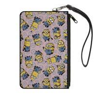 Cartoon Minion Poses Gru'S Logo Scattered Baby Pink Baby Blue Canvas Zipper Canvas Zipper Wallet