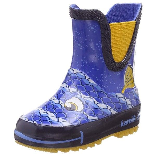 Shop Kids Kamik Boys Bubblez Rubber Ankle Pull On Rain