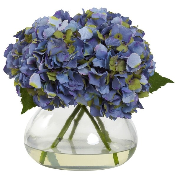 Nearly Natural Large Blooming Hydrangea with Vase Arrangement