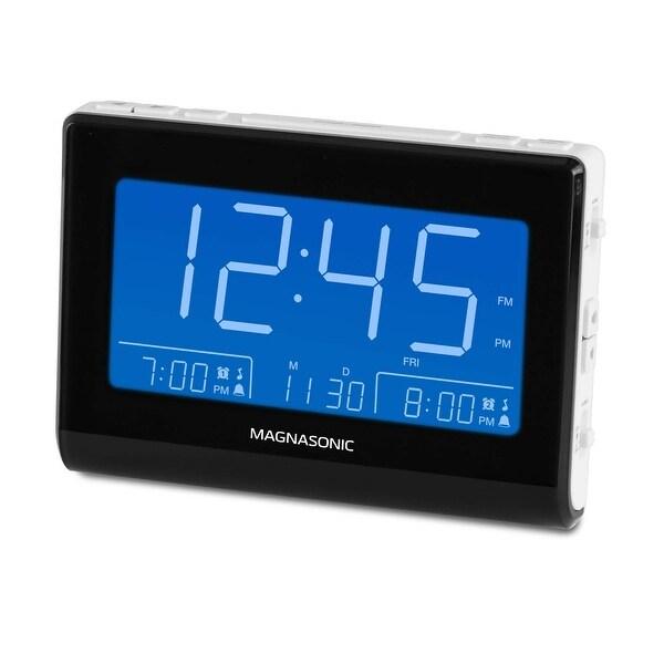 Magnasonic Alarm Clock Radio with USB Charging for Smartphones, Auto Dimming, Dual Gradual Wake Alarm, Battery Backup