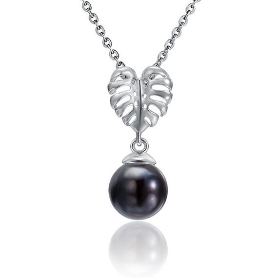 """Monstera Black Pearl Necklace Sterling Silver Pendant 18"""" Chain"""