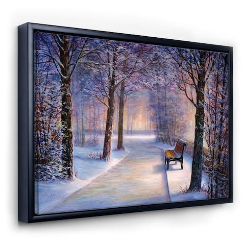Designart 'Bench In The Park During Winter Afternon Glow' Farmhouse Framed Canvas Wall Art Print