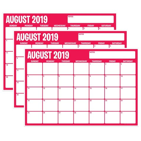 "Six Color Assorted Academic Calendar, August-July, 13"" x 19"", Pack of 3 - One Size"