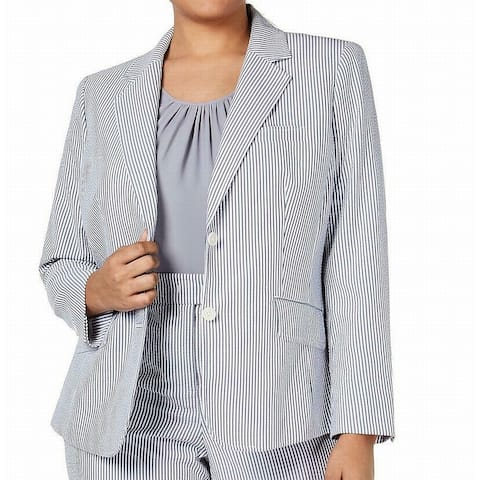 Anne Klein Women's Jacket Silver Size 22W Plus Striped Seersucker