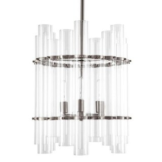 """Park Harbor PHPL5633 17"""" Wide 3 Light Foyer Pendant with Glass Cylinder Accents"""