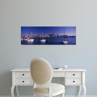 Easy Art Prints Panoramic Images's 'Sailboats in the bay, San Diego, California, USA' Premium Canvas Art