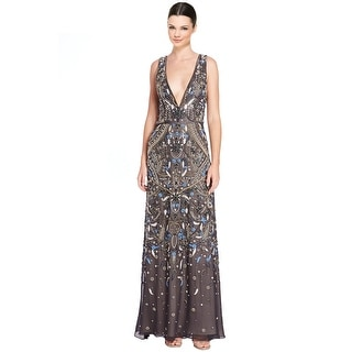 Alice & Olivia Marnee Embellished Jeweled Plunging Evening Gown Dress