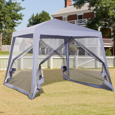 Outsunny 10' x 10' Folding Slant Leg Screened Sun Shelter Canopy Tent with Mesh Sidewalls