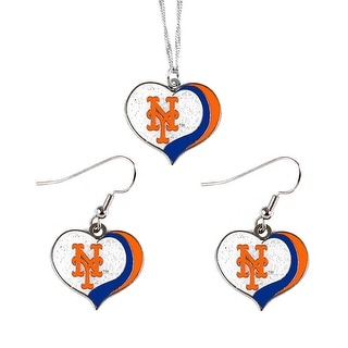 New York Mets  MLB Glitter Heart Necklace and Earring Set Charm Gift