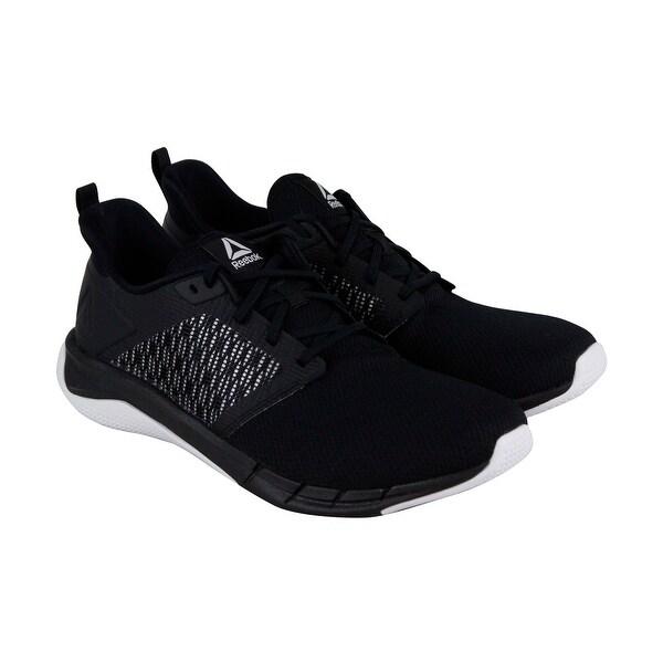 cbbec5c8b5a16 Reebok Print Run 3.0 Mens Black Textile Athletic Lace Up Running Shoes