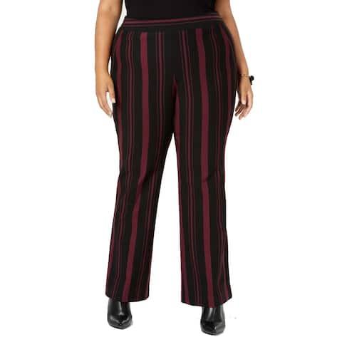 INC Women's Purple Size 14W Plus Striped Boot Leg Dress Pants Stretch