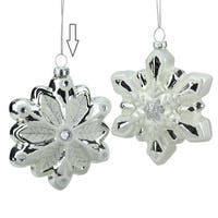 "4"" Silver and White Snowflake with Faux Gems Glass Christmas Ornament"