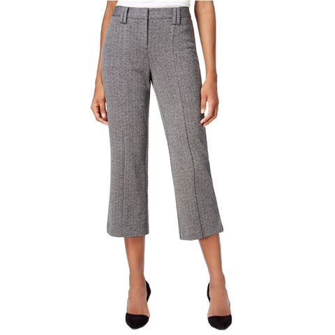 Bar Iii Womens Knit Cropped Flare Dress Trousers