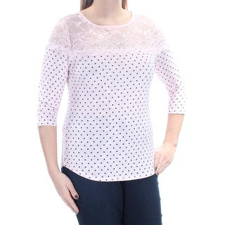 MAISON JULES $40 Womens New 1427 Pink Polka Dot Lace 3/4 Sleeve Sweater M B+B
