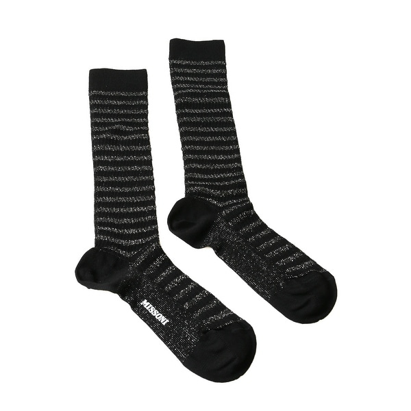 Missoni GM00CMD5228 0006 Black/Silver Calf Length Socks
