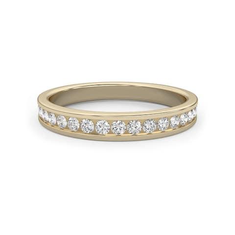 Classic Channel Wedding Band 0.30 CT Round Diamond 14K Gold