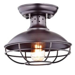 Vintage industrial wire cage semi flush mount ceiling light fixture - Bronze