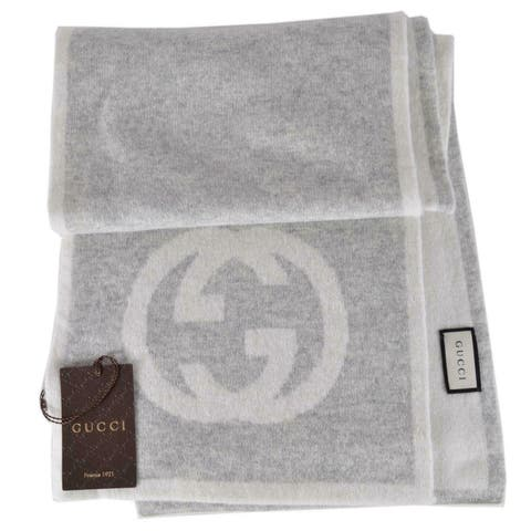 "Gucci 548247 Cashmere Interlocking GG Scarf Muffler Grey/Cream - 70"" x 10"""
