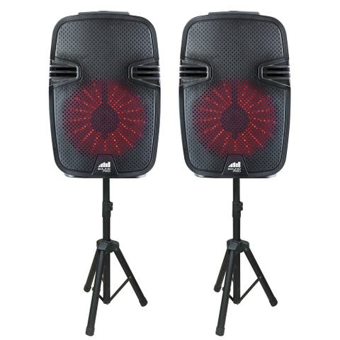 """Dual 8"""" High-Power Bluetooth® True Wireless Sync Party Speakers with Disco Light Combo"""