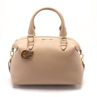 Versace Women Pebbled Leather Top Handle Shoulder Handbag Satchel Tan - M