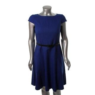 Anne Klein Womens Textured Cap Sleeves Wear to Work Dress - 2
