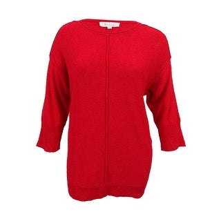 Two by Vince Camuto Women's Exposed Seam Sweater (XL, Red) - Red - xL