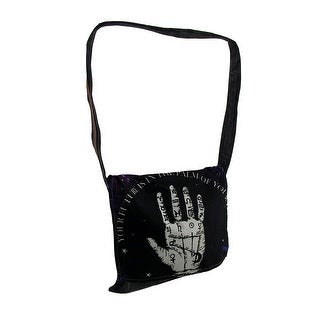 Palmistry Hand Stonewashed Denim Messenger Bag