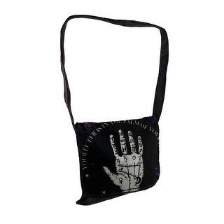 Palmistry Hand Stonewashed Denim Messenger Bag