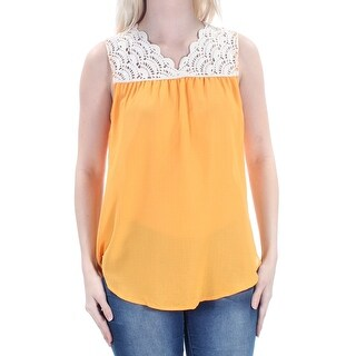 Womens Orange Sleeveless V Neck Top Size S