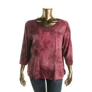 Alfred Dunner Womens Sequined Stitch-Trim Pullover Top - XL