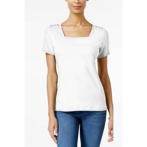 Karen Scott Women's Cotton Square-Neck T-Shirt White Size Large