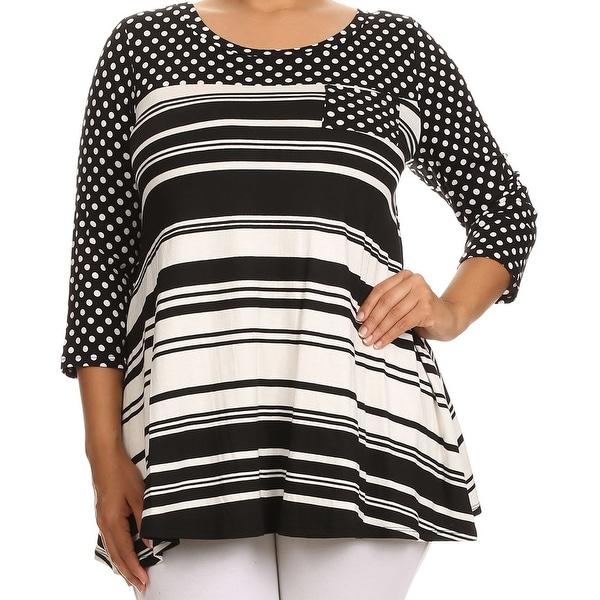 567571cda1c Women Plus Size Polka Dot Stripe Pocket Jersey Knit Top Tee Shirt USA Black  624 STPK