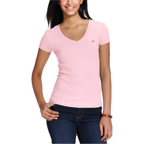 Tommy Hilfiger Womens Logo Basic T-Shirt, Pink, X-Small