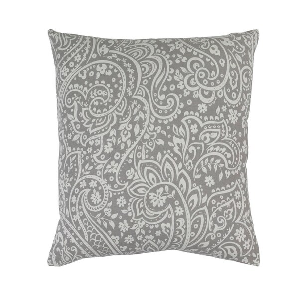 "22"" Paisley Dream Smoke Gray and Bisque White Decorative Throw Pillow"