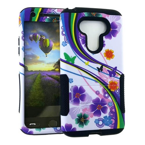Hopper Protector Case for LG G5 (Flower/Rainbow/Butterfly Snap and Black Skin)