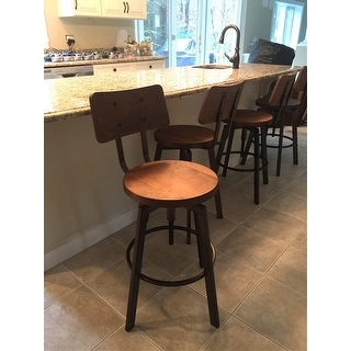 Amisco Woodland Screw Metal and Wood Stool