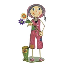 "41"" Pink and Green Girl With Sunflower Garden Decorative Spring Outdoor Planter"