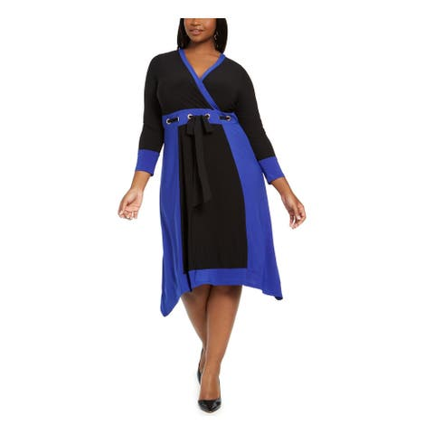 LOVE SQUARED Blue 3/4 Sleeve Knee Length Fit + Flare Dress Size 3X