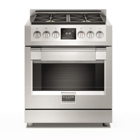 """Fulgor Milano F6PDF304 30"""" Wide 4.1 Cu.Ft. Dual Fuel Range with 4 Dual Fuel Burners - Pro Stainless"""