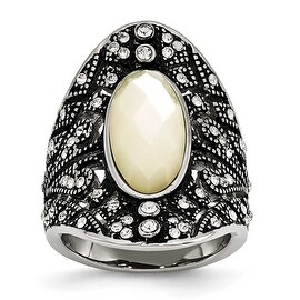 Chisel Stainless Steel Antiqued Crystal and Mother of Pearl Ring (23 mm)