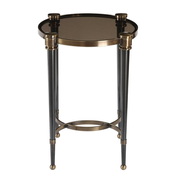 """24.5"""" Brushed Black Tapered Legs Accent Table - N/A"""