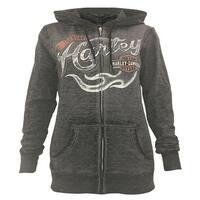 Harley-Davidson Women's Jagged Fury Charcoal Gray Full-Zip Hoodie 5K0V-HF39