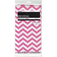 "Hot Pink Chevron - Plastic Tablecover 54""X108"""