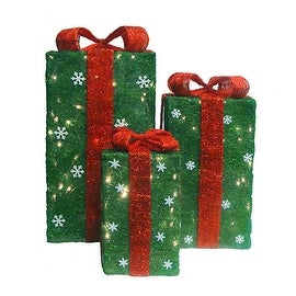 Set of 3 Tall Green Sisal Gift Boxes Lighted Christmas Yard Art Decorations
