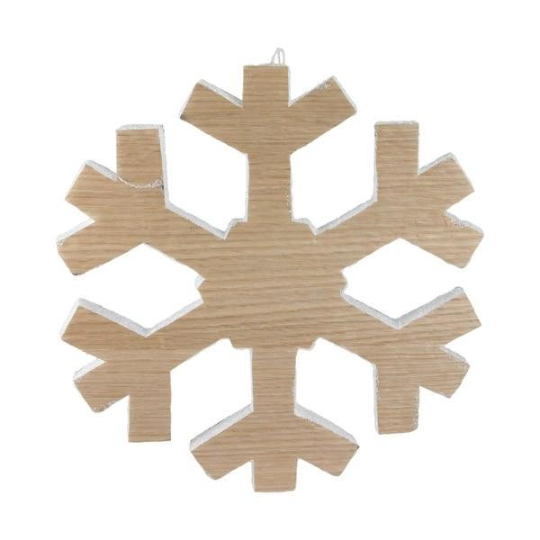 "12.5"" Wood Grain Snowflake Christmas Decoration - brown"